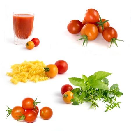 Cherry tomatoes collection : juice, pasta, herbs photo