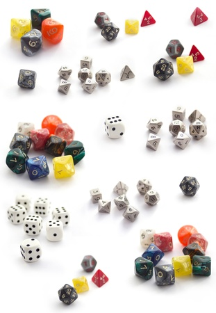 heap of role: Collection  of RPG dices isolated on white Stock Photo