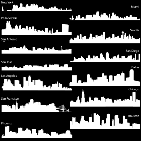 Detailed silhouettes skyline of USA biggest cities Vector