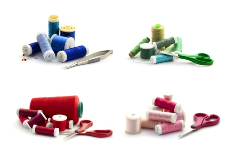 Collection of embroidery threads isolated on white photo