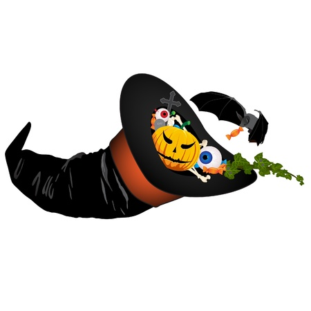horn of plenty: Halloween illustration :  Halloween symbols in a witch hat