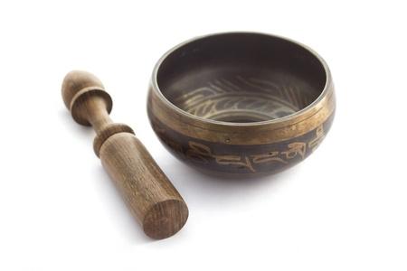 singing bowls: Tibetan Singing Bowl isolated on white