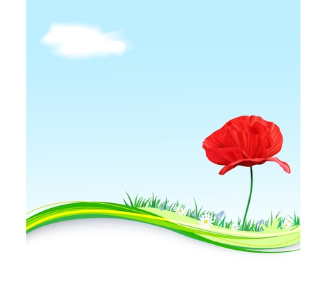 horizon over land: Spring vector Background with flowers