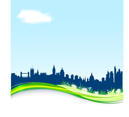 london skyline: Spring background with London skyline  EPS10