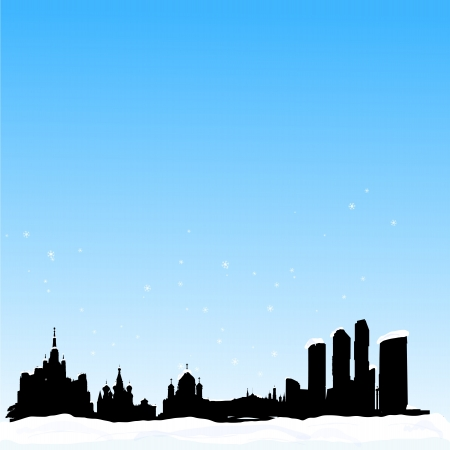 dom: Vector winter background with  Moscow silhouette skyline