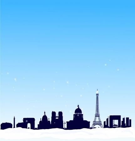 montmartre: Vector hiver fond avec la silhouette toits de Paris Illustration
