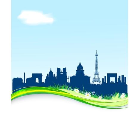 Spring background with Paris skyline  EPS10