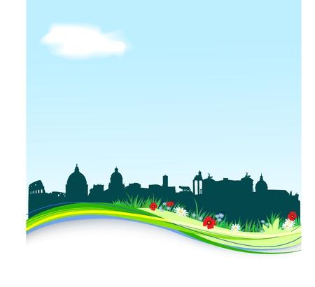 colosseo: Primavera sfondo con silhouette orizzonte vettore Roma Vettoriali