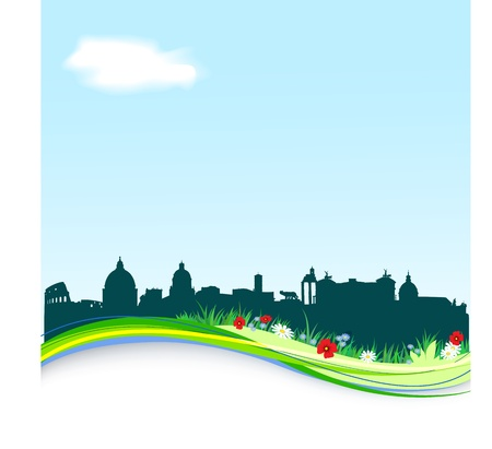 Spring background with vector Rome silhouette skyline