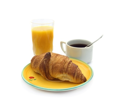 jus: breakfast concept   Croissant, coffee and orange jus