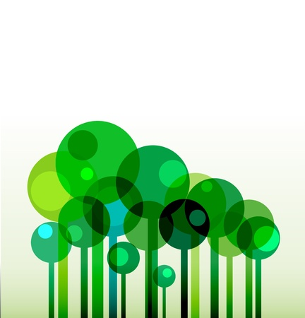 background with green stylised trees Illustration
