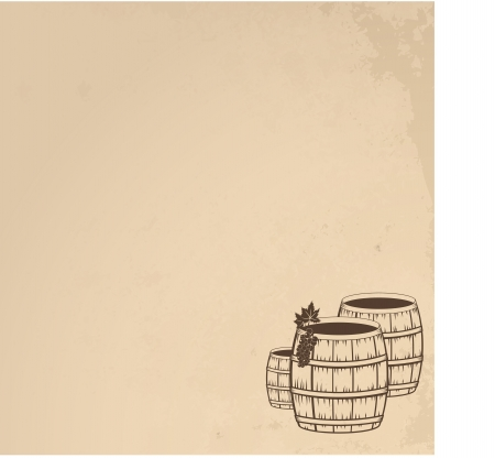 Grunge  wooden barrels of wine Vector