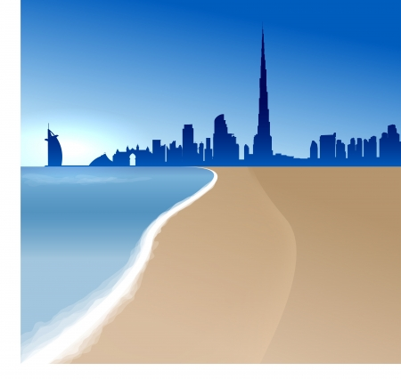 Dubai vector illustration with beach and sea