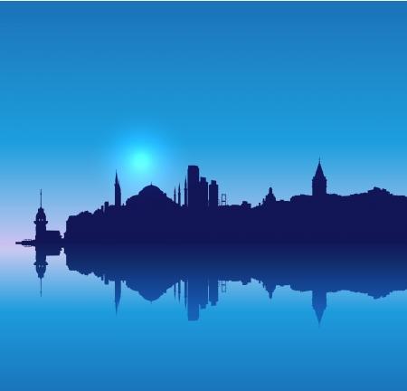 turkey istanbul: Detailed vector Istambul silhouette skyline