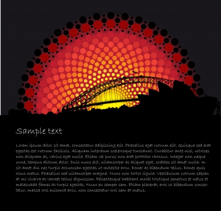 Australia Aboriginal art stylized vector background with Sydney opera