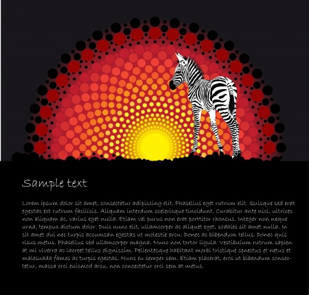 red horse: Tribal stylized vector background with a zebra