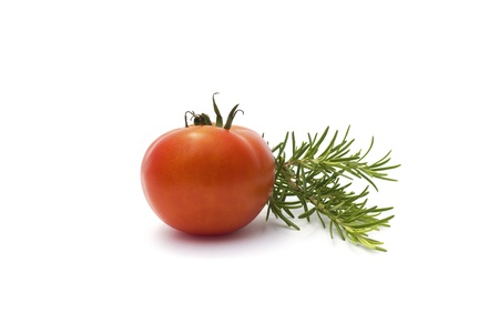 Rosemary and tomato isolated on white Stock Photo - 20899685
