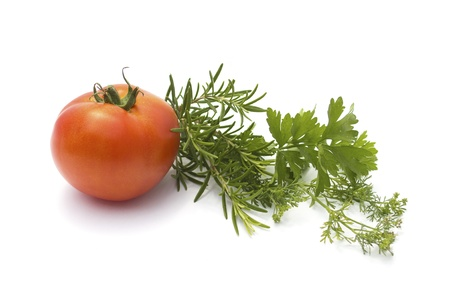 various herbs and tomato isolated on white Stock Photo - 20899687