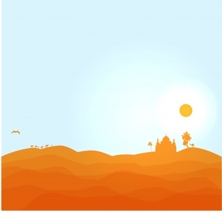 Vector desert illustration  1001 nights desert Illustration