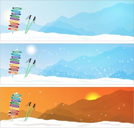 station ski: Set of Ski trip Banners  with most famous ski destinations Illustration