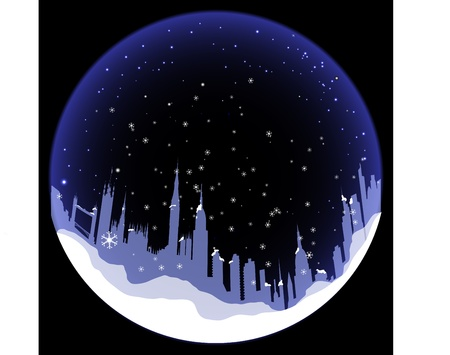 snow scenes: Vector Snowball with London silhouette