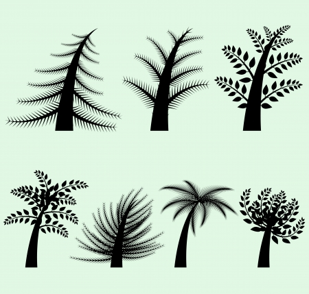 Collection of vector tree silhouettes Vector
