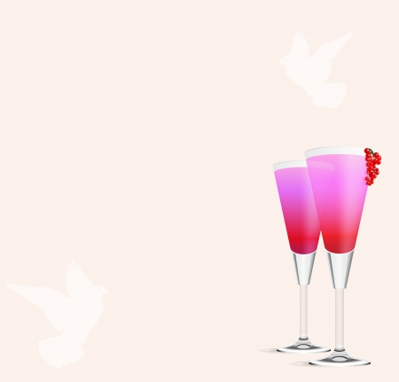 food and drink holiday: Cocktail Romance vector background Stock Photo