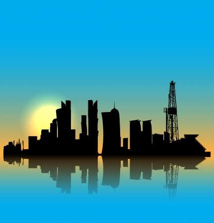 Doha  silhouette skyline with drilling tower