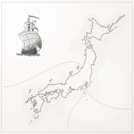 hokkaido: Stylized old Japan map with ship and paths Stock Photo