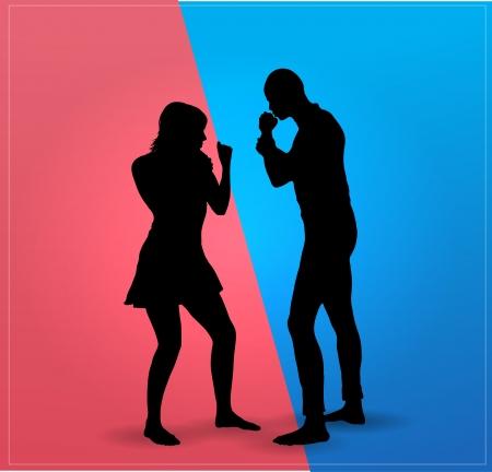 pareja discutiendo: Pareja argumentan pelea de boxeo Foto de archivo