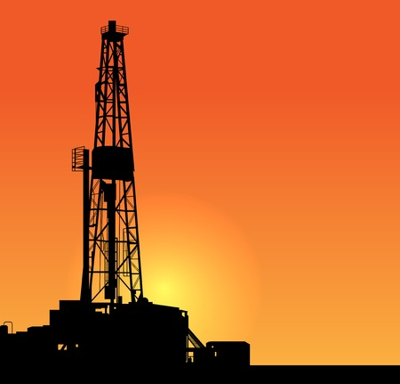 drill: Oil drilling illustration. sunset