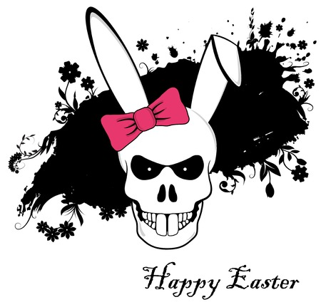 Funny Easter Bunny skull with red bow on ink background photo