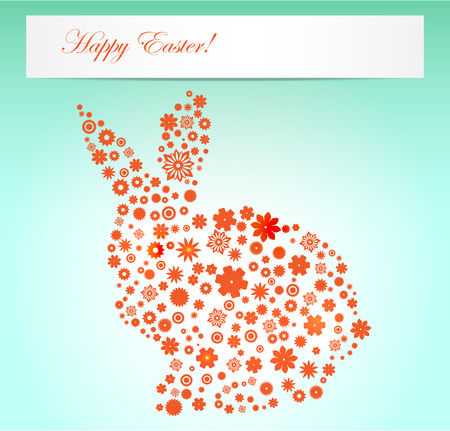 silhouette lapin: Pâques fleurs illustration de ressort forme de lapin Banque d'images