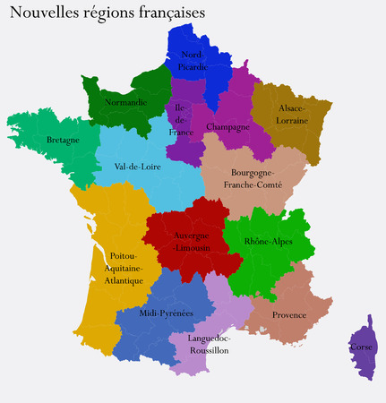corsica: New French regions  Nouvelles regions de France  Separated departments Stock Photo