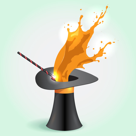 conjuring: Vector Magic hat whith orange Splash and wand Stock Photo