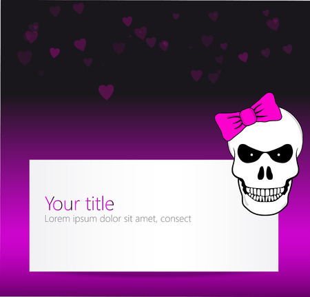Funny background with angry skull and pink bow photo