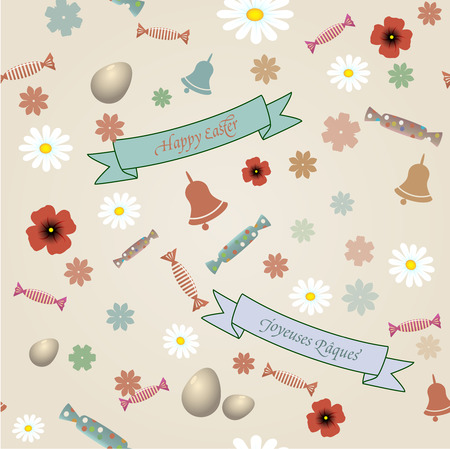 Vector retro Easter seamless pattern photo
