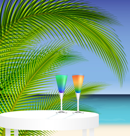 caribbean party: Tropical trip concept ; ocean and palm tree landscape with two cocktails