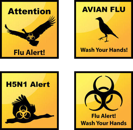 avian flu: Set of vector Avian flu alerts icons