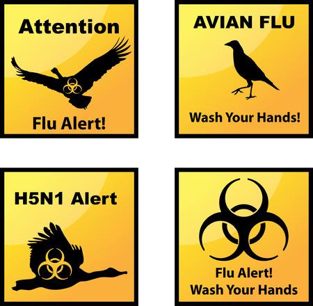 influenza: Set of vector Avian flu alerts icons