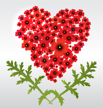 Heart of poppies  Eps 10 vector photo