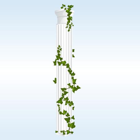 columnas romanas: Columna dórica vectorial con hojas de hiedra de mármol blanco