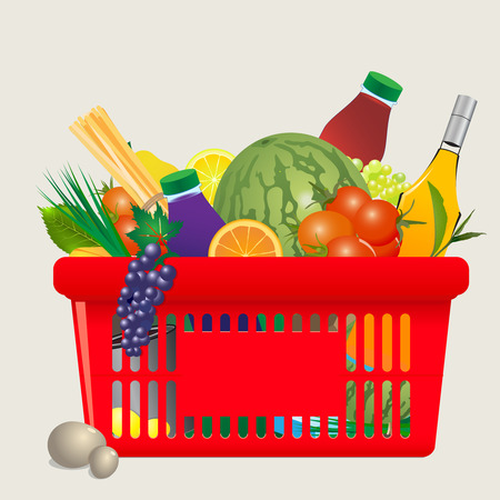 veggies: Vector Mediterranean shopping cart  fruits, veggies, herb, juice