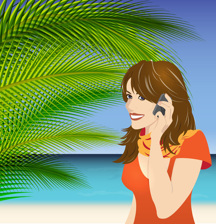 Summer communication   girl with phone on ocean background photo