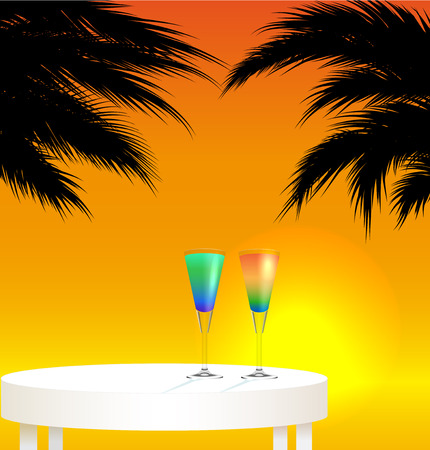 caribbean party: Tropical trip concept ; sunset landscape with two cocktails