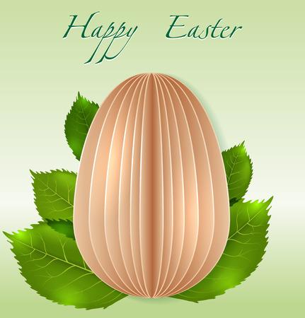 paper Easter Egg on spring leaves background photo