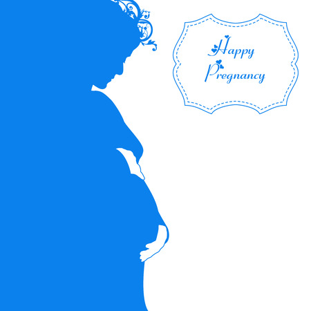 Happy pregnancy vector background with woman silhouette Illustration