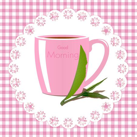 good break: Good morning vector illustration with a mug of tea on vichy fabric background