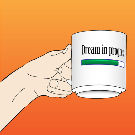 Hand with Dream in progress Mug Vector