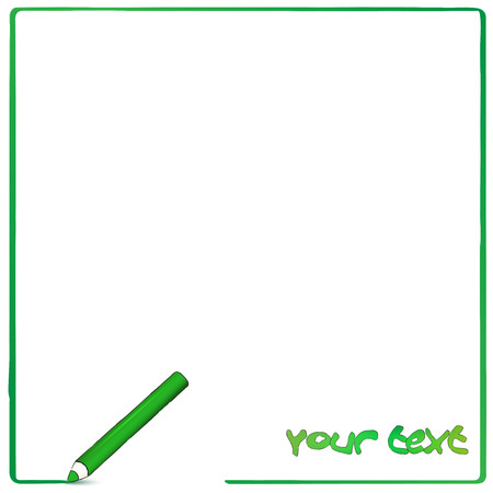 background with comic style green pencil Vector